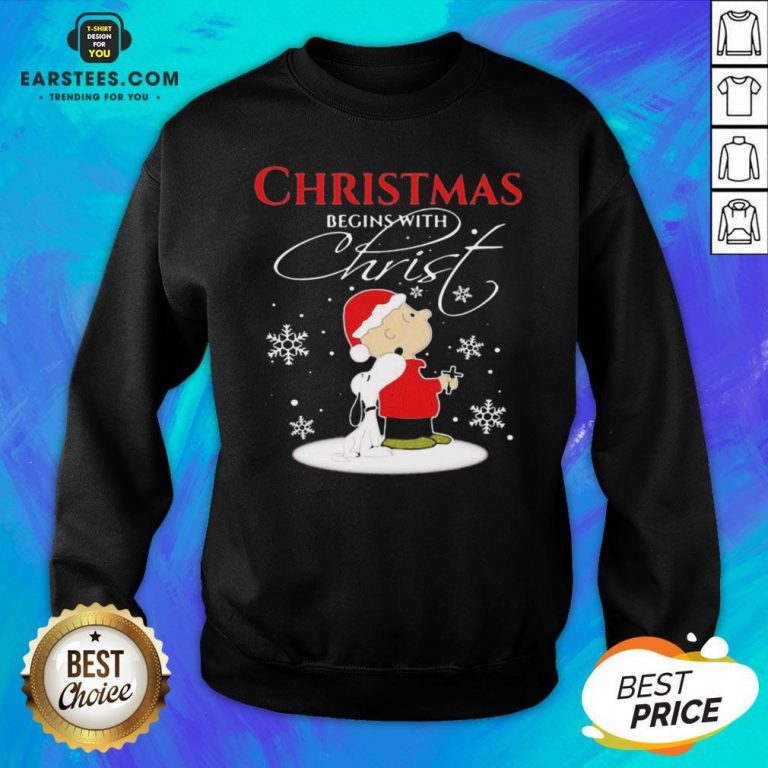 Awesome Merry Christmas Snoopy And Charlie Brown Begins With Christ Sweatshirt - Design By Earstees.com