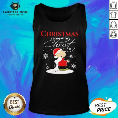 Awesome Merry Christmas Snoopy And Charlie Brown Begins With Christ Tank Top - Design By Earstees.com