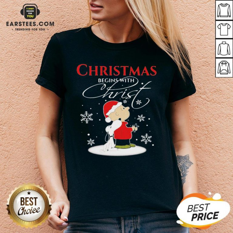 Awesome Merry Christmas Snoopy And Charlie Brown Begins With Christ V-neck - Design By Earstees.com