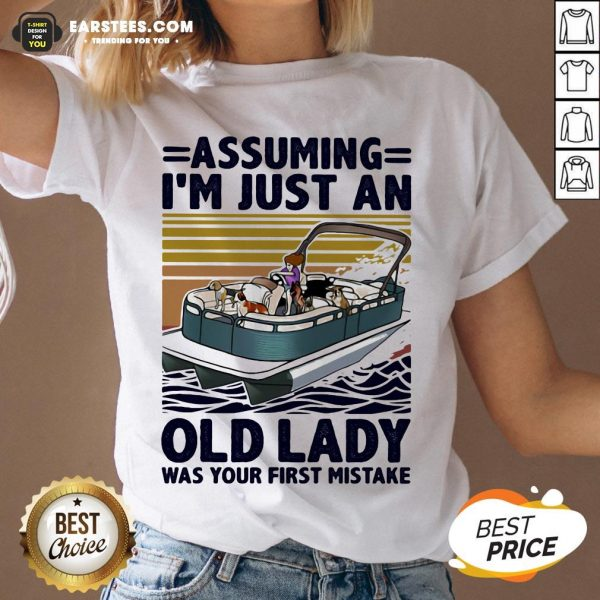 Awesome Pontoon Assuming I'm Just An Old Lady Was Your First Mistake Vintage Retro V-neck - Design By Earstees.com