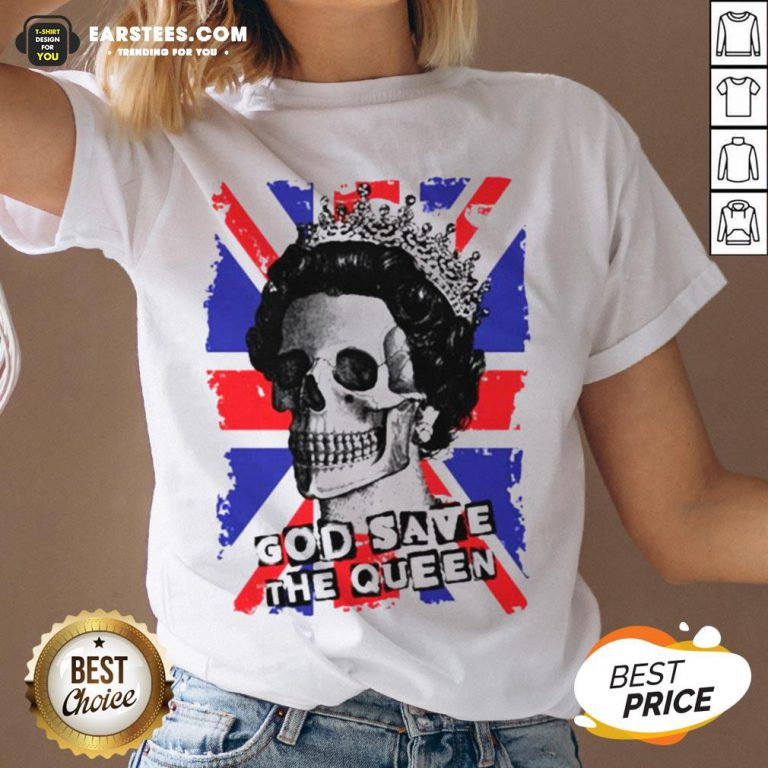 Awesome Skull God Save The Queen American Flag V-neck - Design By Earstees.com
