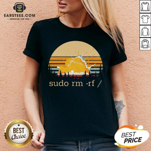 Awesome Sudo Rm Rf Vintage V-neck - Design By Earstees.com