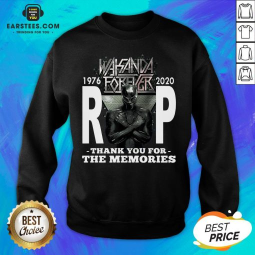 Awesome Wakanda Forever Rip Black Panther 1976 2020 Thank You For The Memories Sweatshirt - Design By Earstees.com
