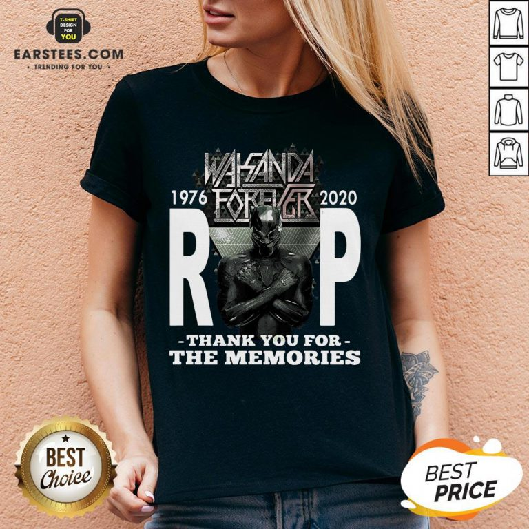 Awesome Wakanda Forever Rip Black Panther 1976 2020 Thank You For The Memories V-neck - Design By Earstees.com