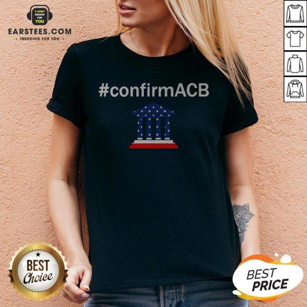Confirm ACB Amy Coney Barrett Supreme Court America Flag USA V-neck - Design By Earstees.com