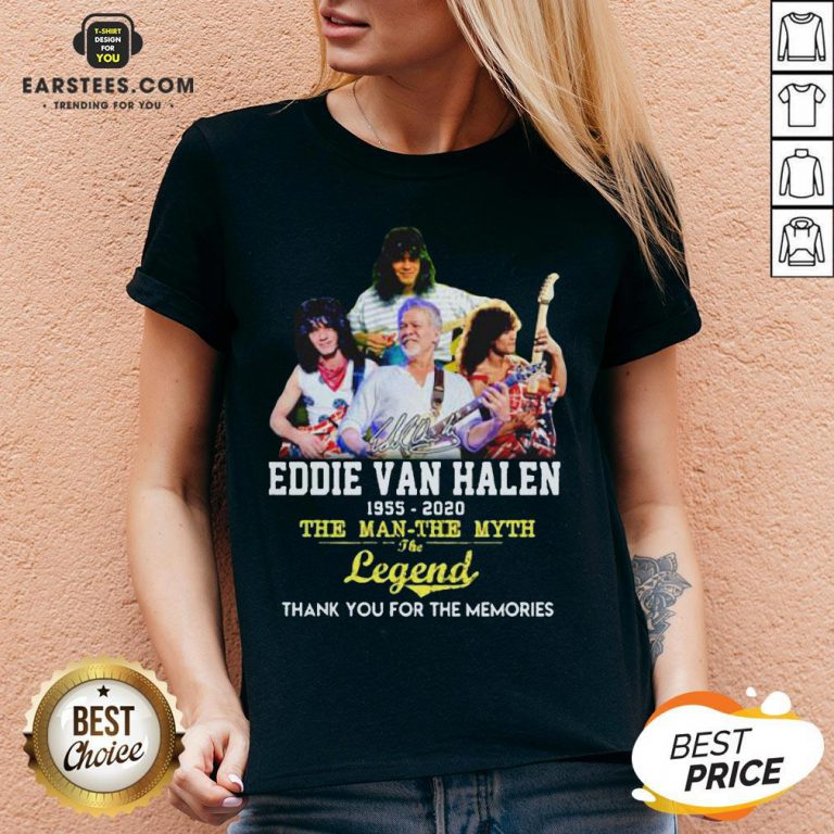Eddie Van Halen 1955 2020 The Man The Myth The Legend Thank You For The Memories V-neck - Design By Earstees.com