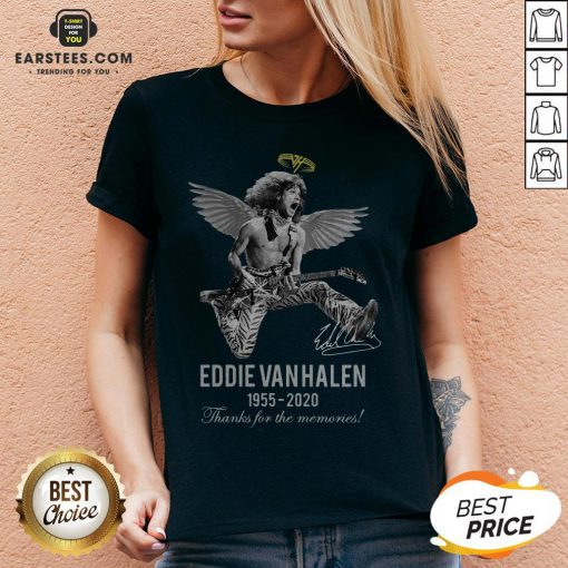 Eddie Van Halen Angle 1955 2020 Signature Thanks For The Memories V-neck - Design By Earstees.com