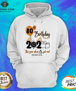 Funny 80th Birthday 2020 The Year When Shit Got Real Quarantined Coronavirus Toilet Paper Hoodie - Design By Earstees.com
