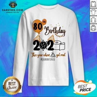 Funny 80th Birthday 2020 The Year When Shit Got Real Quarantined Coronavirus Toilet Paper Sweatshirt - Design By Earstees.com