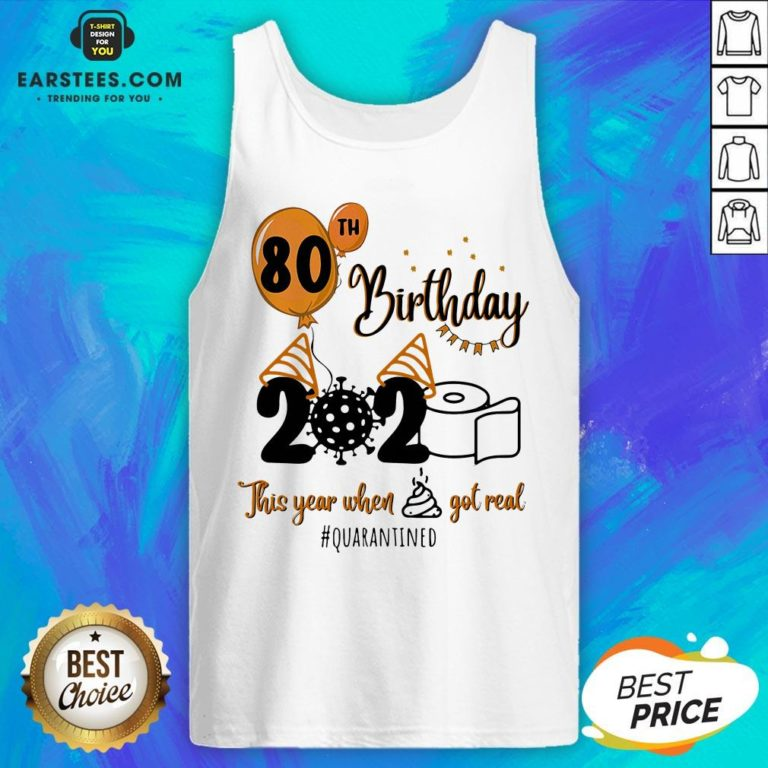 Funny 80th Birthday 2020 The Year When Shit Got Real Quarantined Coronavirus Toilet Paper Tank Top - Design By Earstees.com