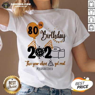 Funny 80th Birthday 2020 The Year When Shit Got Real Quarantined Coronavirus Toilet Paper V-neck - Design By Earstees.com
