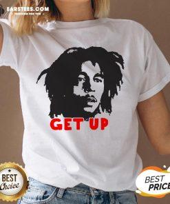 Funny Bob Marley Get Up V-neck - Design By Earstees.com