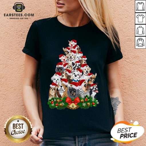 Funny Dogs Tree Merry Christmas V-neck - Design By Earstees.com