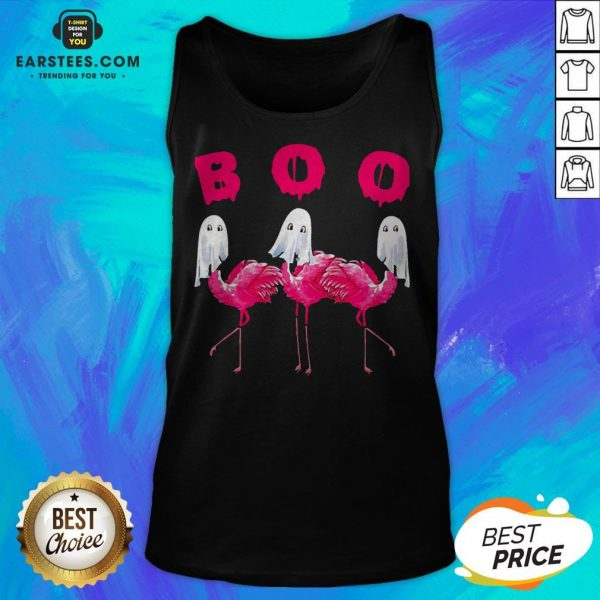 Funny Flamingo Boo Happy Halloween Tank Top