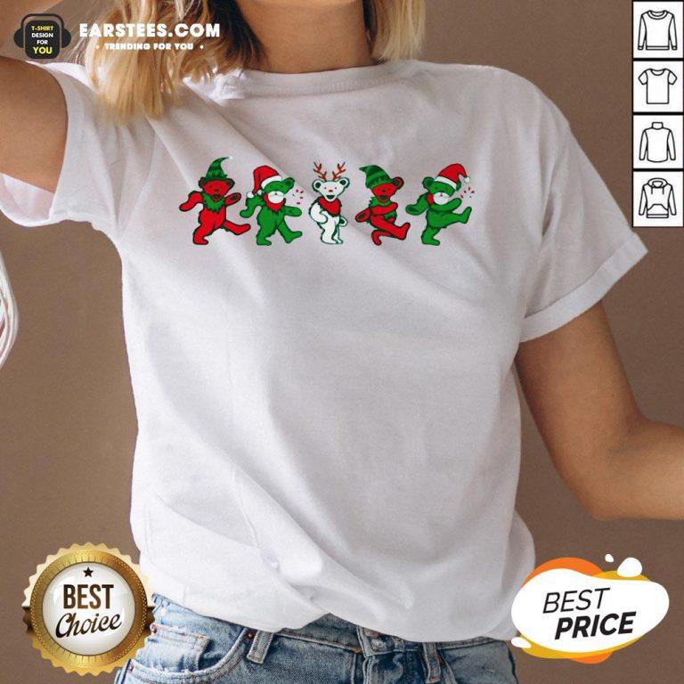 Funny Grateful Dead Bear Christmas V-neck - Design By Earstees.com
