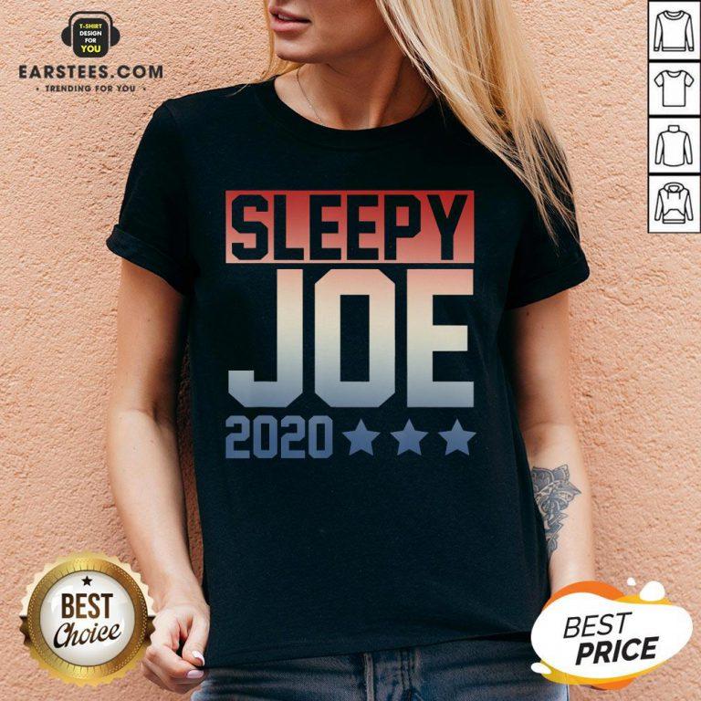 Funny Sleepy Joe Election Pro Trump 2020 V-neck - Design By Earstees.com
