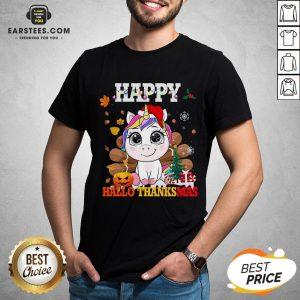 Funny Unicorn Happy Hallothanksmas Shirt - Design By Earstees.com