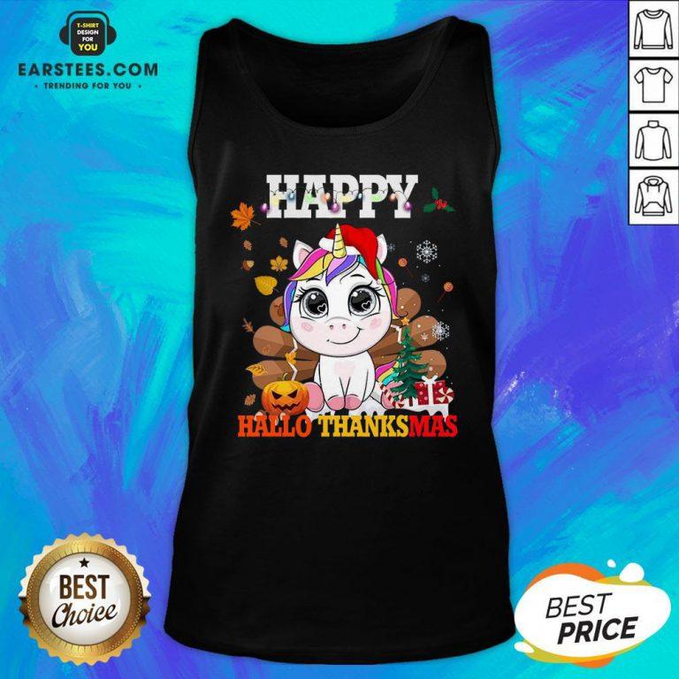 Funny Unicorn Happy Hallothanksmas Tank Top - Design By Earstees.com