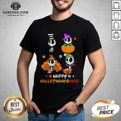 Good Jack Skellington Happy Hallothanksmas Shirt - Design By Earstees.com