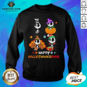 Good Jack Skellington Happy Hallothanksmas Sweatshirt - Design By Earstees.com