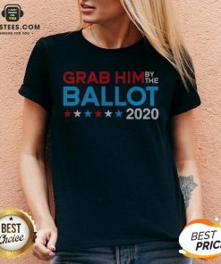 Grab Him By The Ballot – Joe Biden And Kamala Harris 2020 V-neck - Design By Earstees.com
