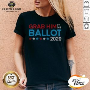 Grab Him By The Ballot – Joe Biden And Kamala Harris 2020 V-neck - Design By Earstees.com