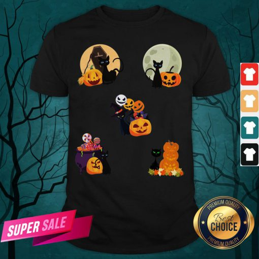 Happy Halloween Cat Pack Pumpkins Shirt