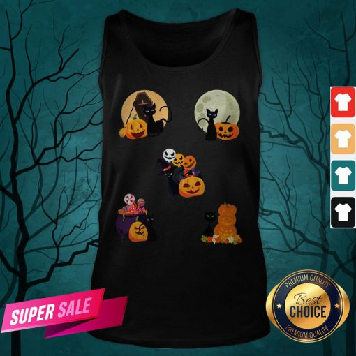 Happy Halloween Cat Pack Pumpkins Tank Top