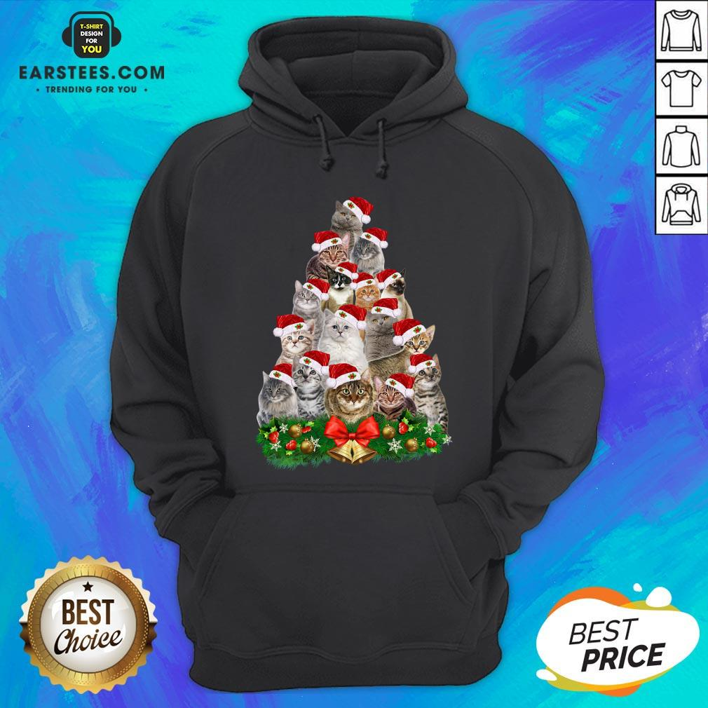 Hot Cats Tree Merry Christmas Hoodie - Design By Earstees.com