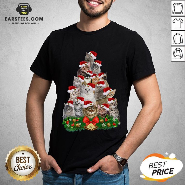 Hot Cats Tree Merry Christmas Shirt - Design By Earstees.com