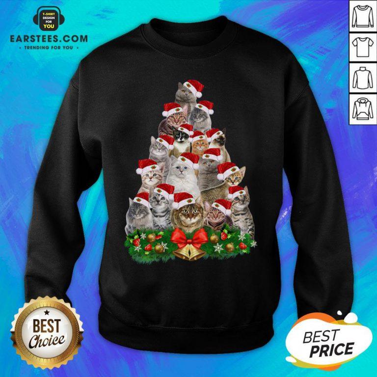 Hot Cats Tree Merry Christmas Sweatshirt - Design By Earstees.com