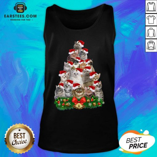 Hot Cats Tree Merry Christmas Tank Top - Design By Earstees.com