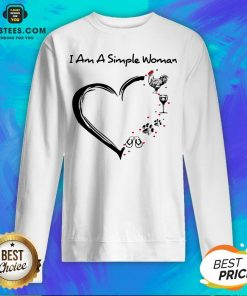 I Am A Simple Woman Heart Chicken Wine Dog Paw And Flip Flop Sweatshirt
