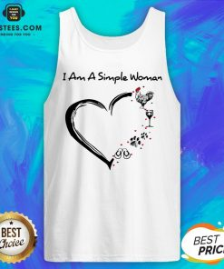 I Am A Simple Woman Heart Chicken Wine Dog Paw And Flip Flop Tank Top