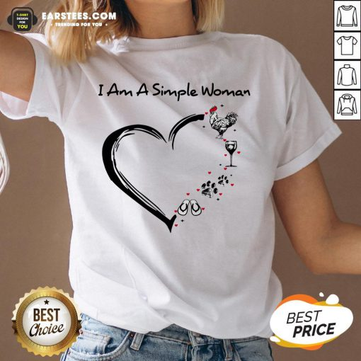I Am A Simple Woman Heart Chicken Wine Dog Paw And Flip Flop V-neck