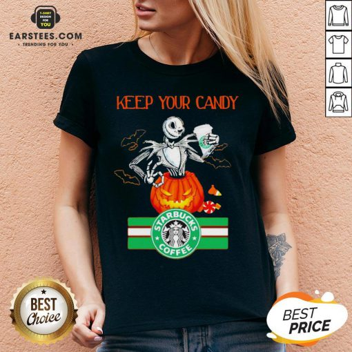 Jack Skellington Keep Your Candy I'll Have Starbuck Coffee V-neck - Design By Earstees.com