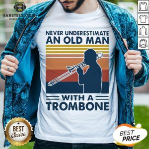 Never Underestimate An Old Man With A Trombone Vintage Retro Shirt - Design By Earstees.com
