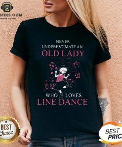 Never Underestimate Old Lady Who Loves Line Dance V-neck - Design By Earstees.com