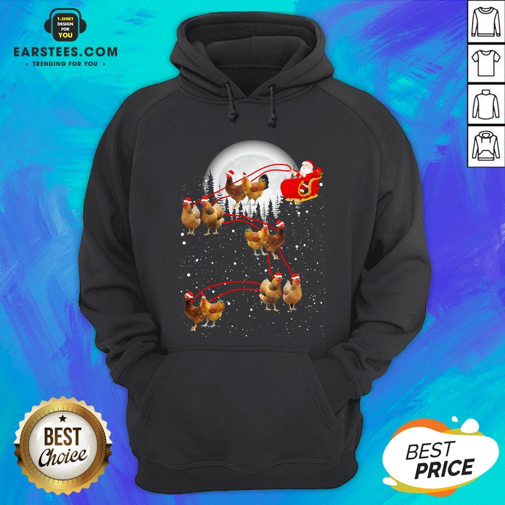 Nice Chicken With Santa Claus Xmas Hoodie - Design By Earstees.com