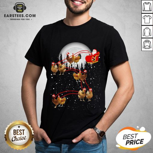 Nice Chicken With Santa Claus Xmas Shirt - Design By Earstees.com