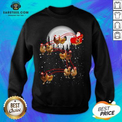 Nice Chicken With Santa Claus Xmas Sweatshirt - Design By Earstees.com