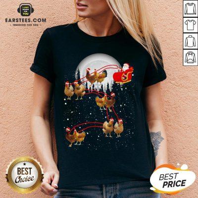 Nice Chicken With Santa Claus Xmas V-neck- Design By Earstees.com