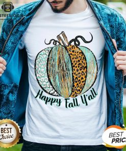 Nice Happy Fall Leopard Pumpkin Shirt - Design By Earstees.com
