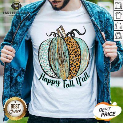 Nice Happy Fall Leopard Pumpkin Shirt - Design By Earstees.com