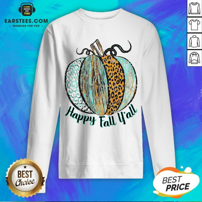 Nice Happy Fall Leopard Pumpkin Sweatshirt - Design By Earstees.com