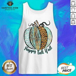 Nice Happy Fall Leopard Pumpkin Tank Top - Design By Earstees.com