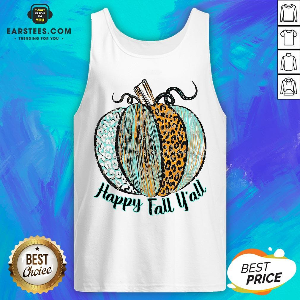 Nice Happy Fall Leopard Pumpkin Tank Top - Design By Earstees.com