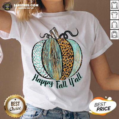 Nice Happy Fall Leopard Pumpkin V-neck - Design By Earstees.com