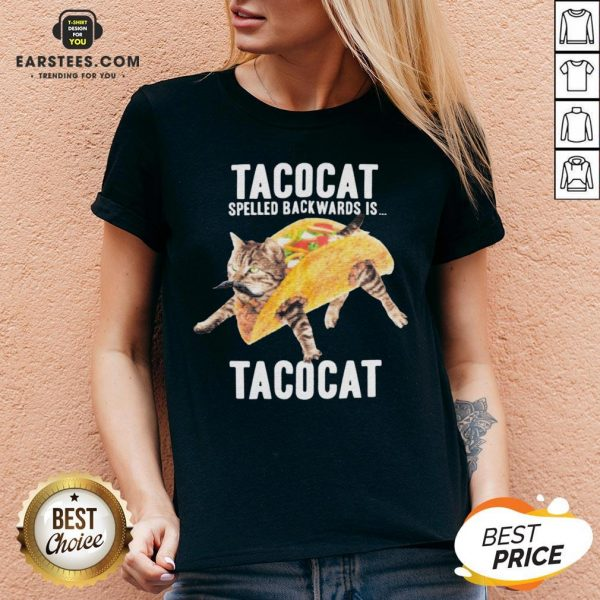 Nice Tacocat Spelled Backwards Is Tacocat V-neck - Design By Earstees.com