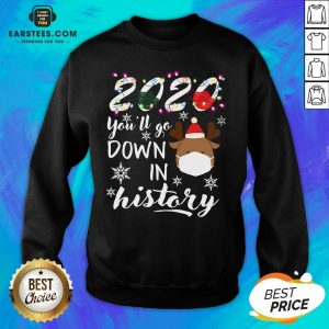 Official 2020 You'll Go Down In History Christmas Sweatshirt - Design By Earstees.com